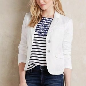 Hei Hei | Anthropologie White Cotton Chino Blazer